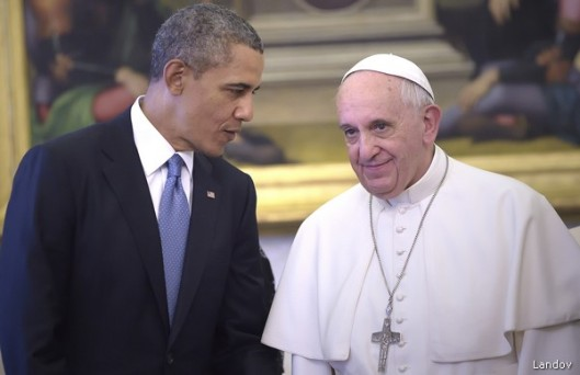 U.S. PRESIDENT BARACK OBAMA MEETS POPE FRANCIS AT THE VATICAN